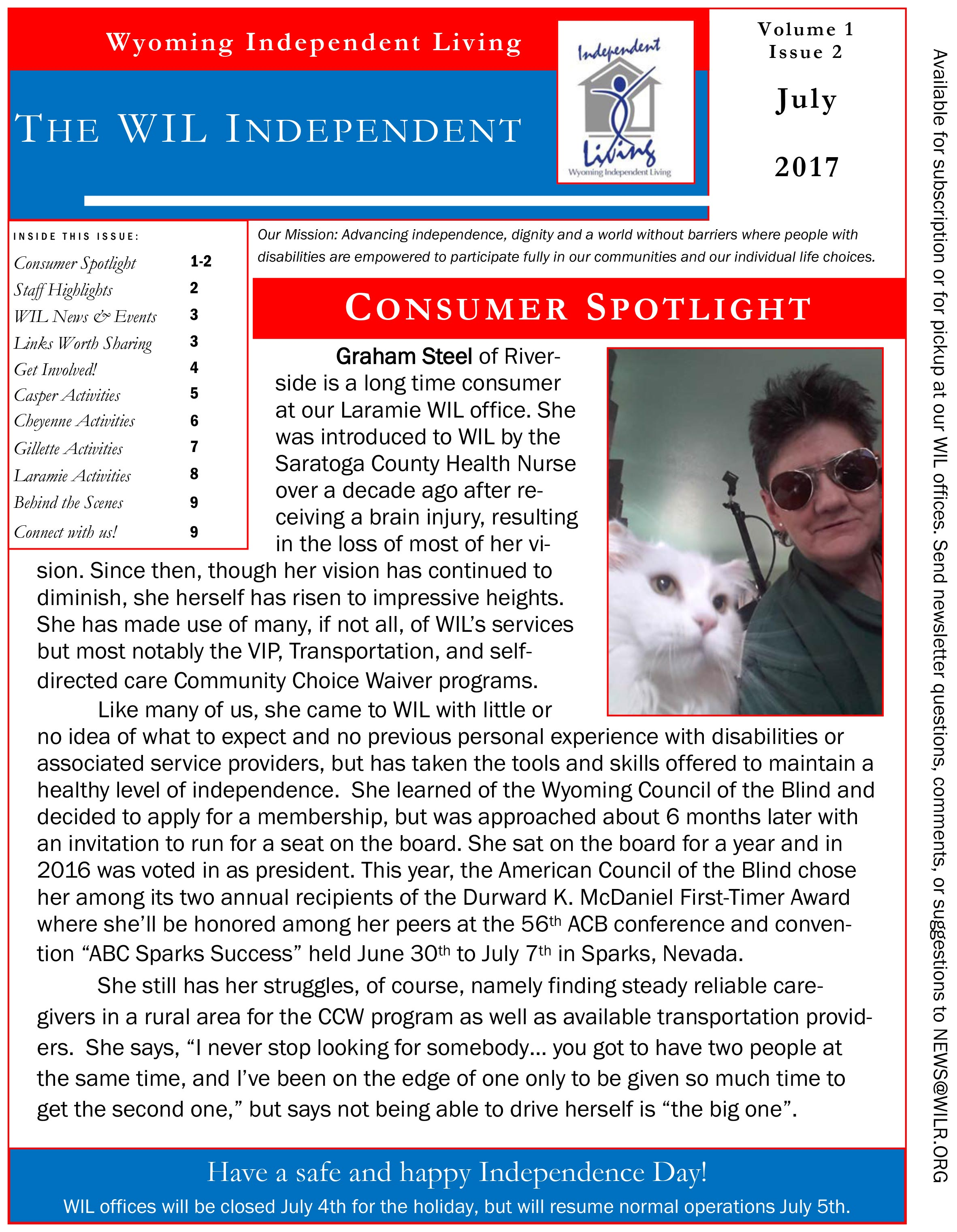 July 2017 newsletter front page
